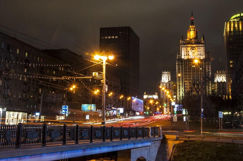 Здание Министерства иностранных дел РФ, москва, вечер, сталинские высотки