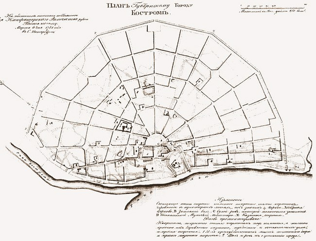 План Костромы 1784 года