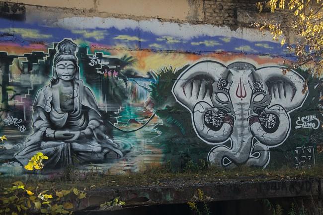 Граффити Лосиный остров на станции МКЦ Белокаменная